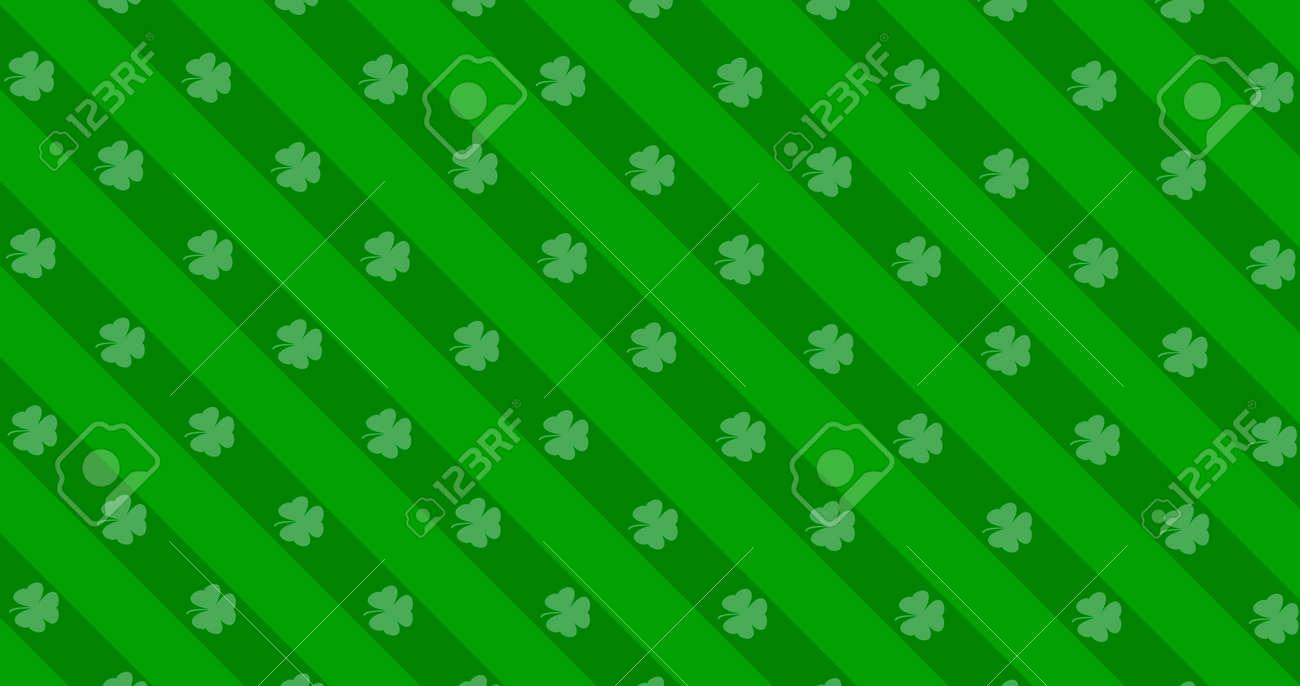 St. Patrick's Day green leaves background. Patrick Day backdrop with falling shamrock leaf pattern. For festive pub party. 3d render 3D illustration - 165178046