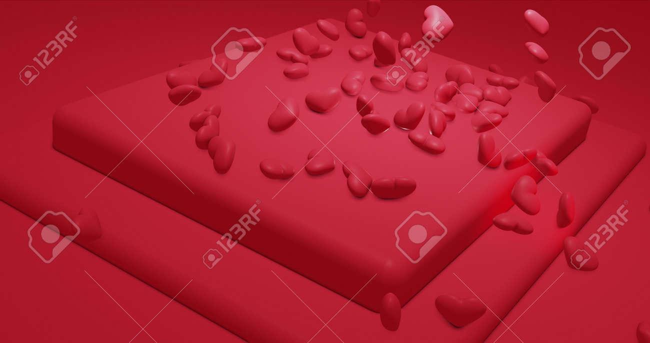 Romantic glamor falling polygonal hearts. Valentines Day. wedding event background. 3D rendering 3D illustration - 165178051