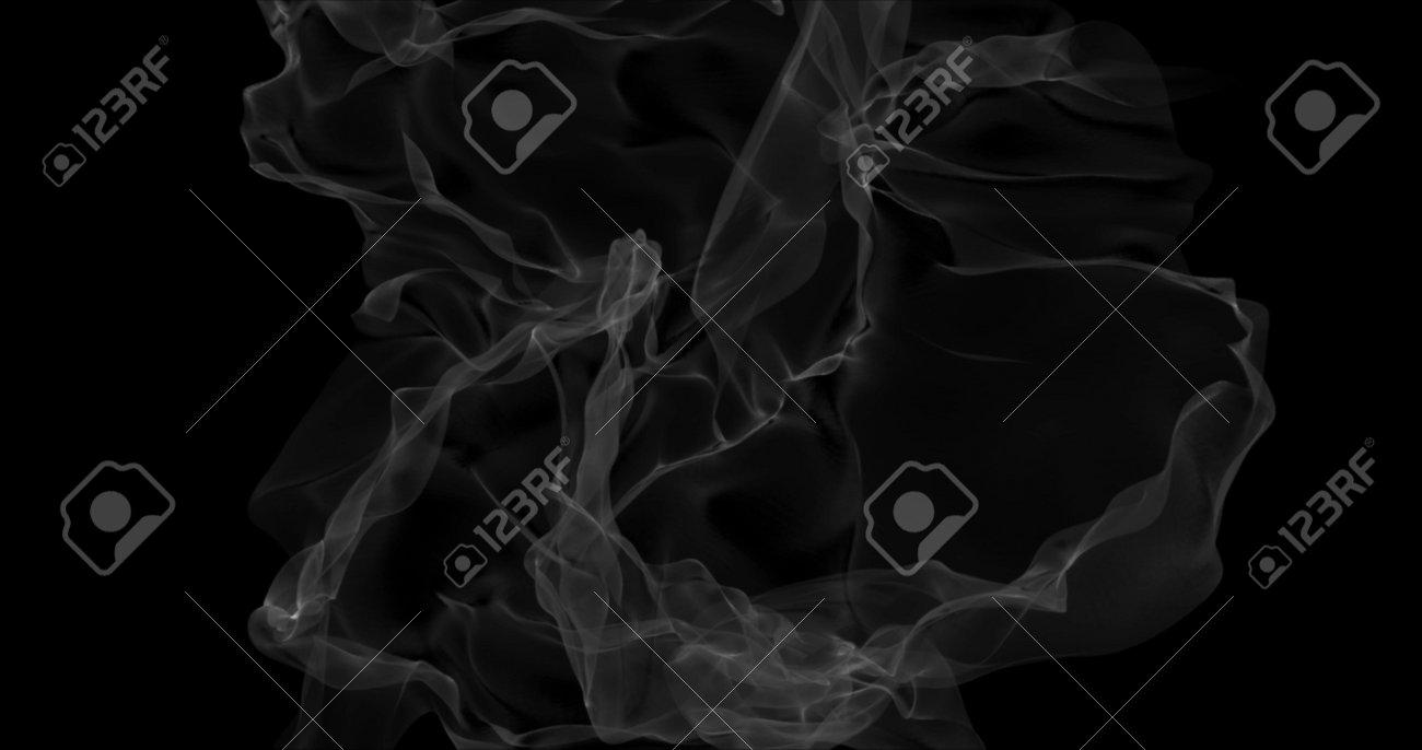 Floating white smoke on black background. Dry ice smoke fog for overlay blending mode. Abstract smoke clouds. Haze backdrop. 3D illustration - 165178072