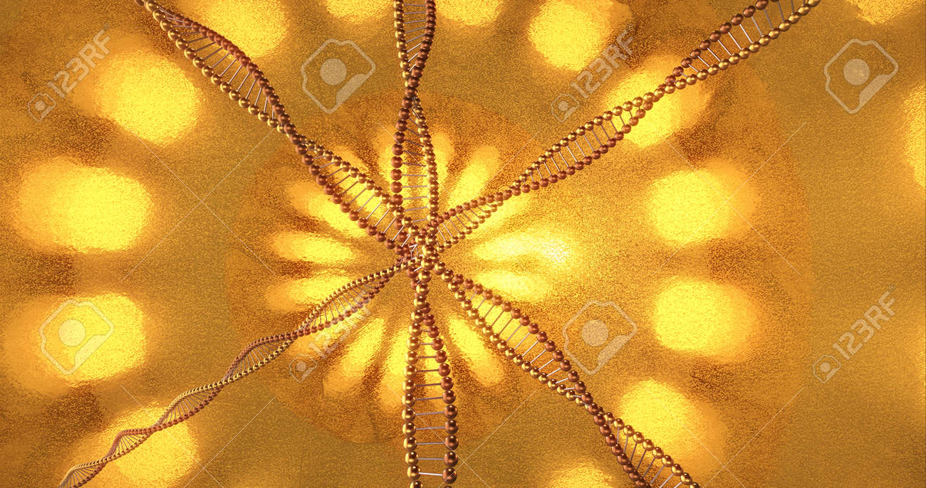 Golden geometric background with swirls of DNA molecules. Digital wallpaper for beauty and plastic surgery clinic. Innovation and medicine concept. 3D Rendering - 165178078