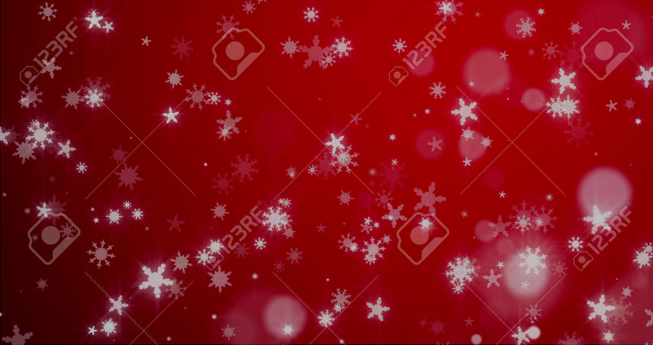 Christmas background with snowflakes - falling snow on a blue background 3D rendering - 166585587