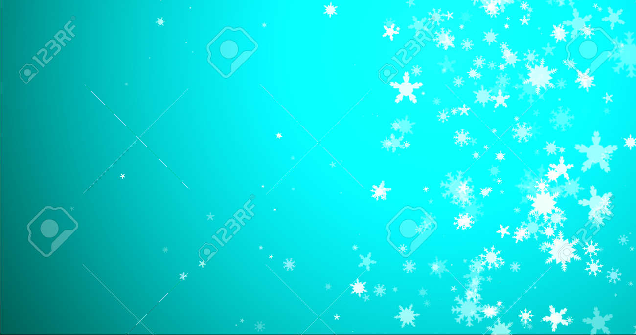 Christmas background with snowflakes - falling snow on a blue background 3D rendering - 166585669