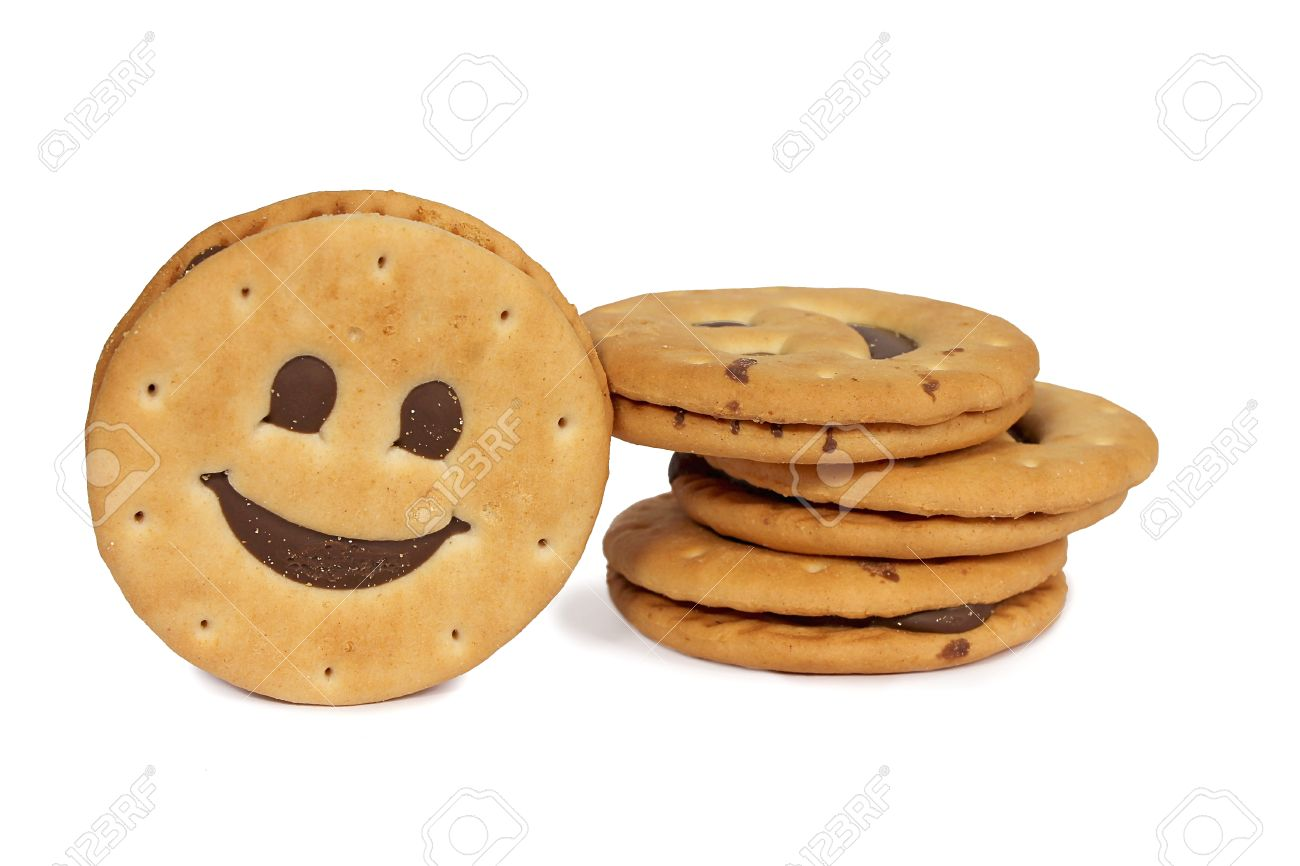 Stack of Biscuits Smile on white background Stock Photo - 23321845