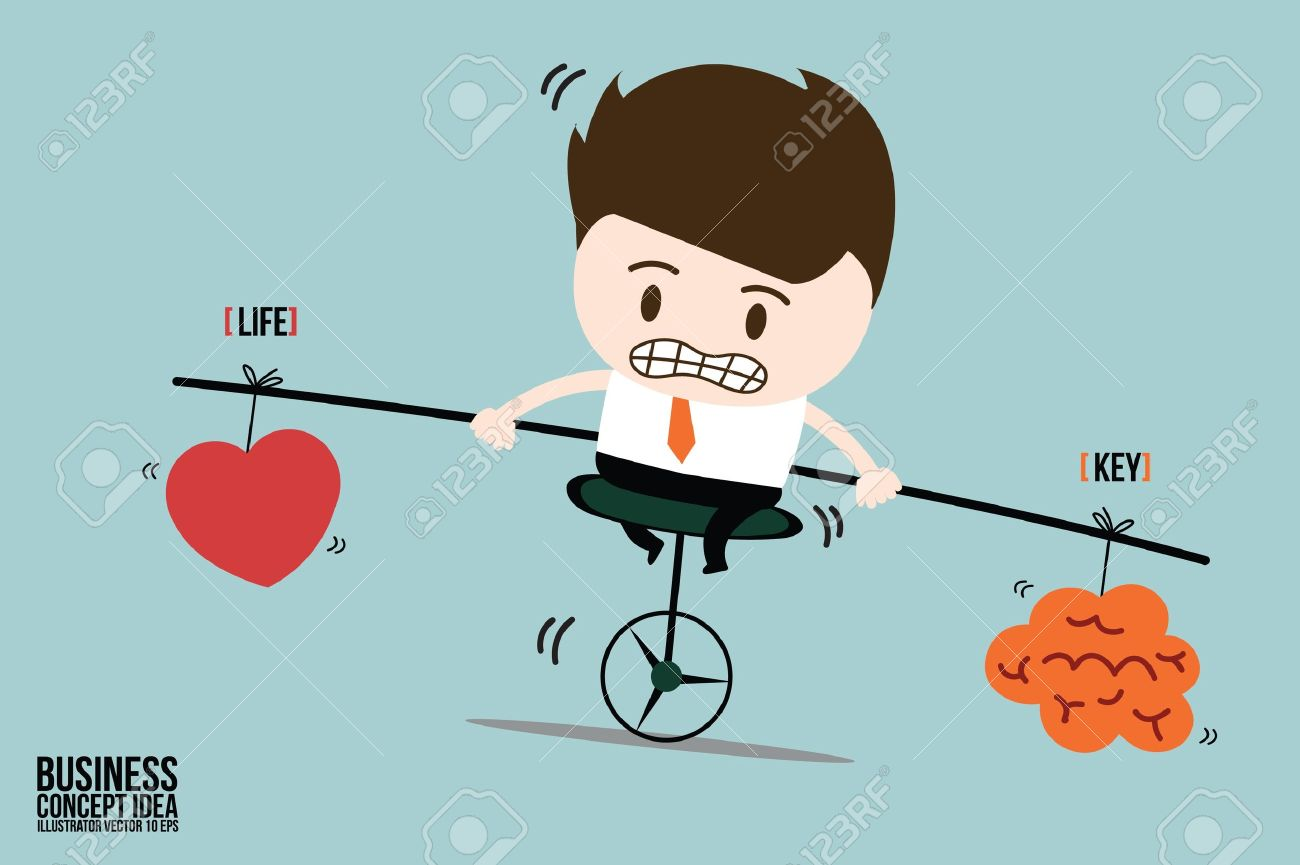 Businessman balance is key in life on one wheel bicycle - 21688866