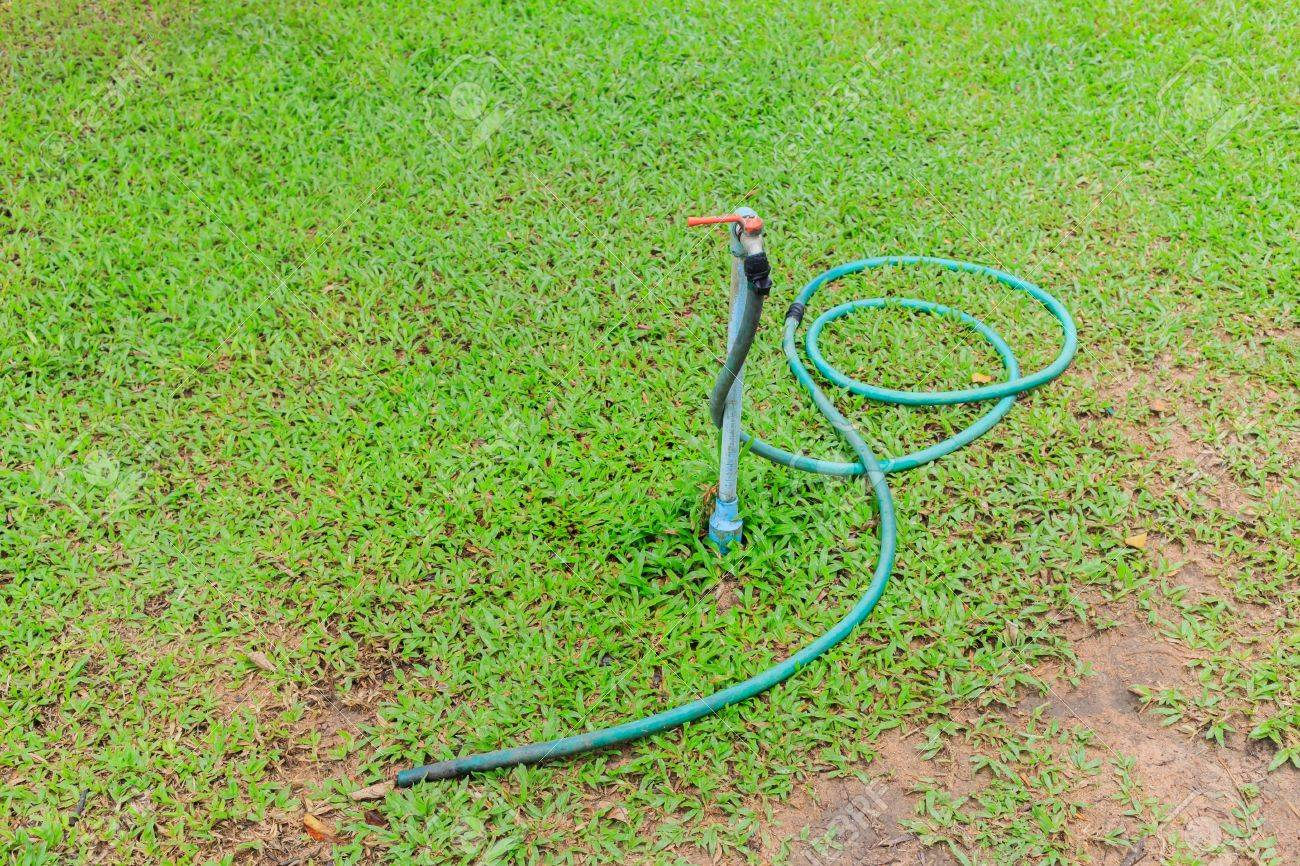 Faucet And Rubber Tube In Garden Stock Photo Picture And Royalty