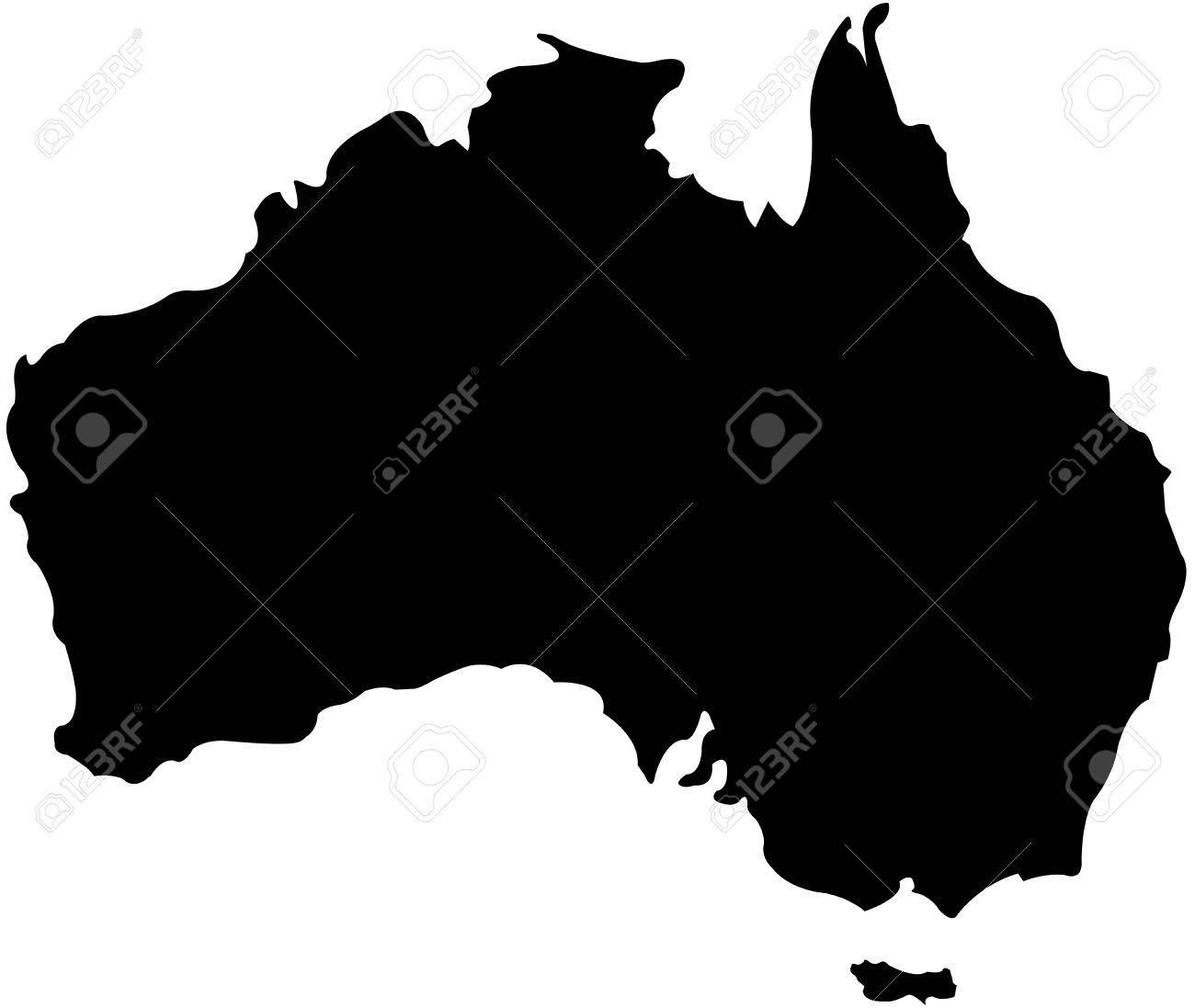 silhouette of australian map stock vector 27552231