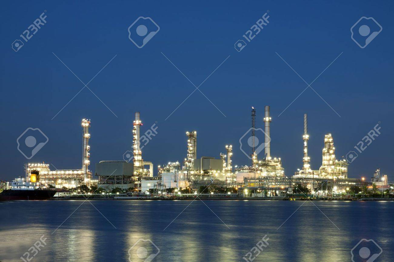 petrochemical oil refinery factory pipeline at twilight Bangkok Thailand - 15229119