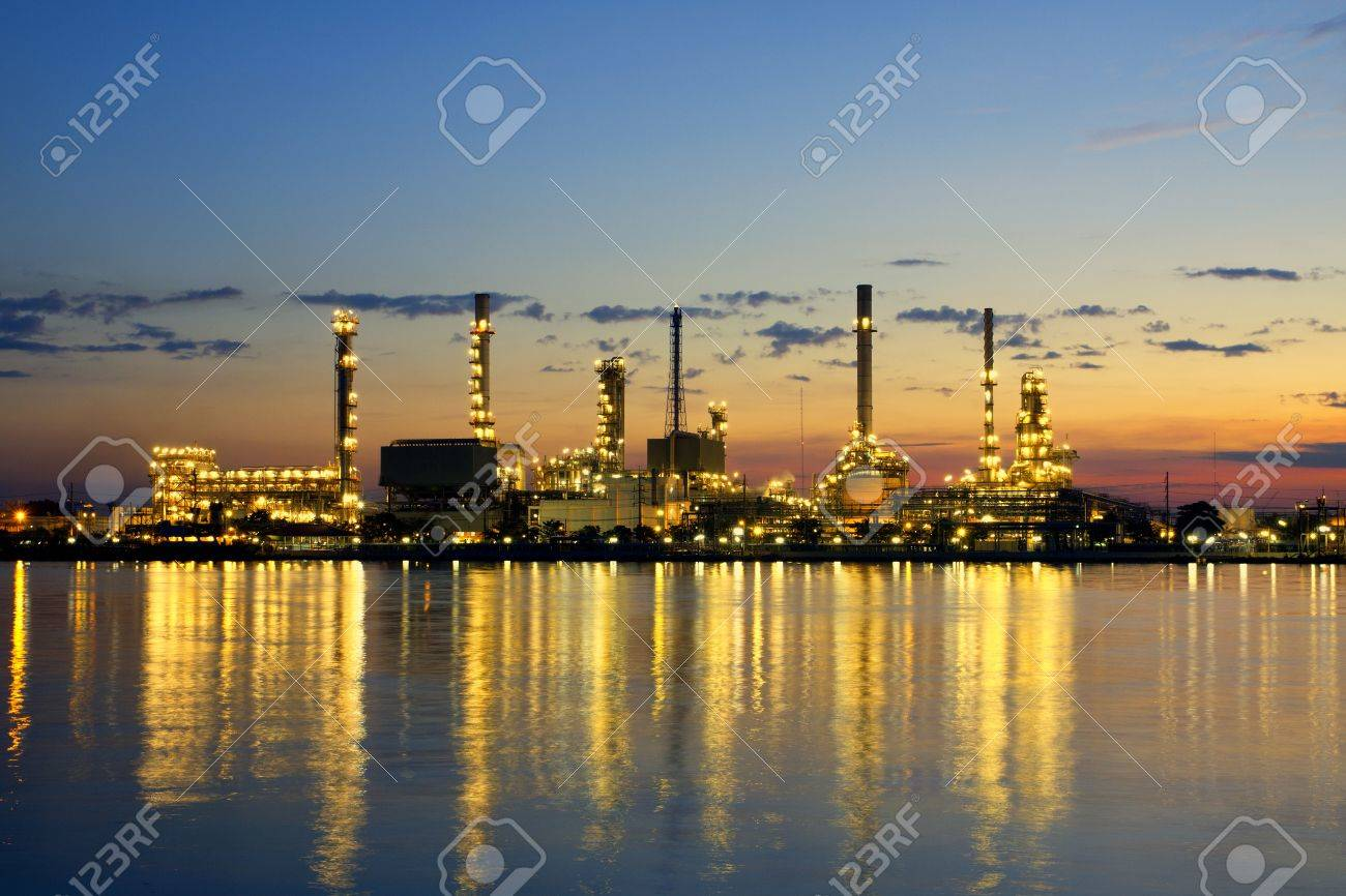 petrochemical oil refinery factory pipeline in the morning near river at Bangkok Thailand - 15991495