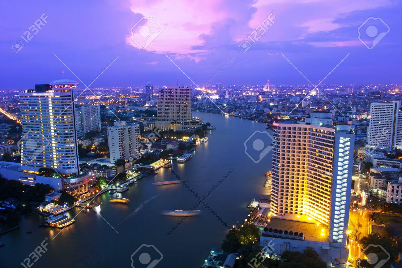 Landscape Bangkok city night view, Thailand - 16517043