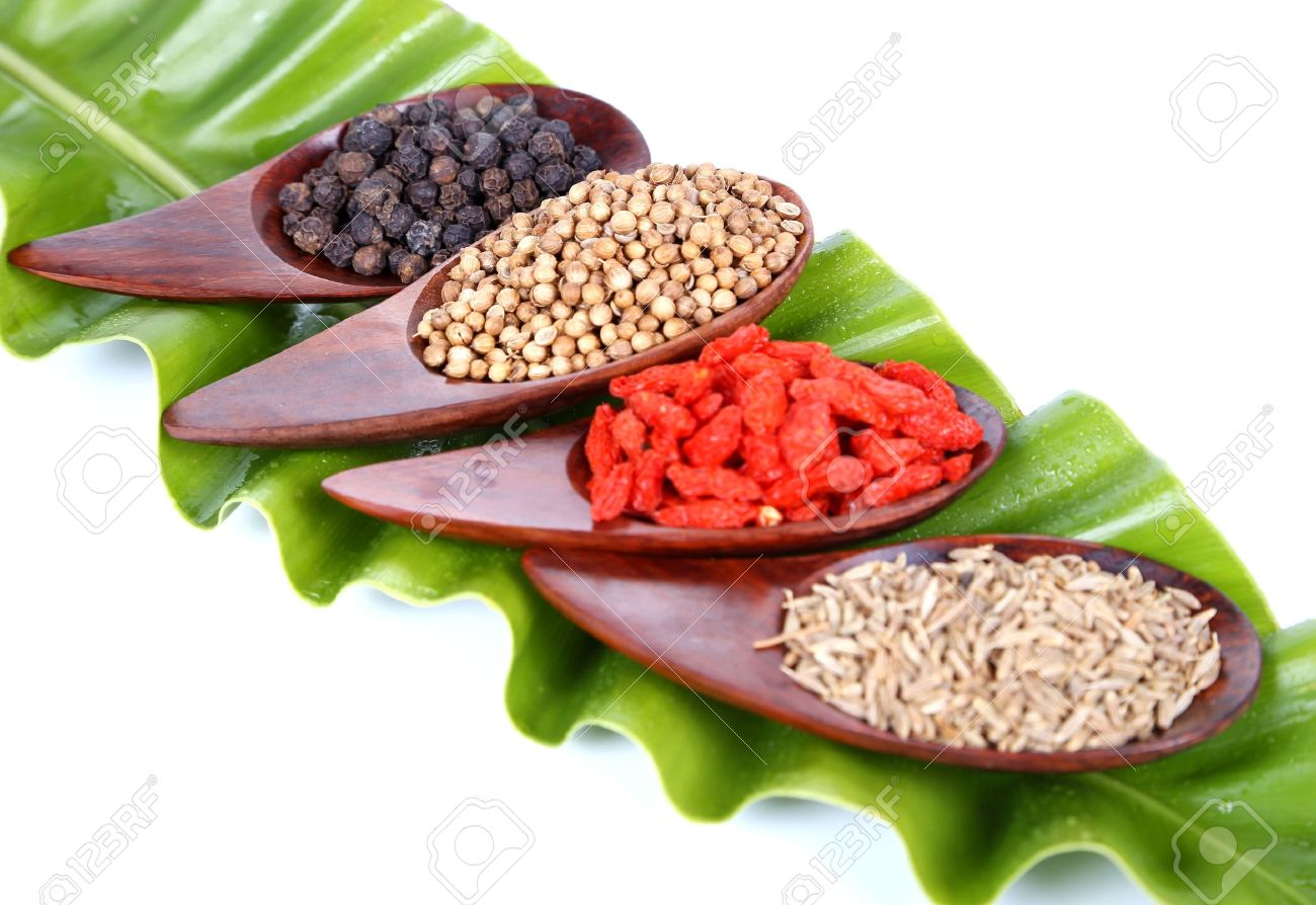 Various kinds of spices - Coriander Seed, Goji Berry,Cumin,Black peppercorns with ferns leaves - 19788300