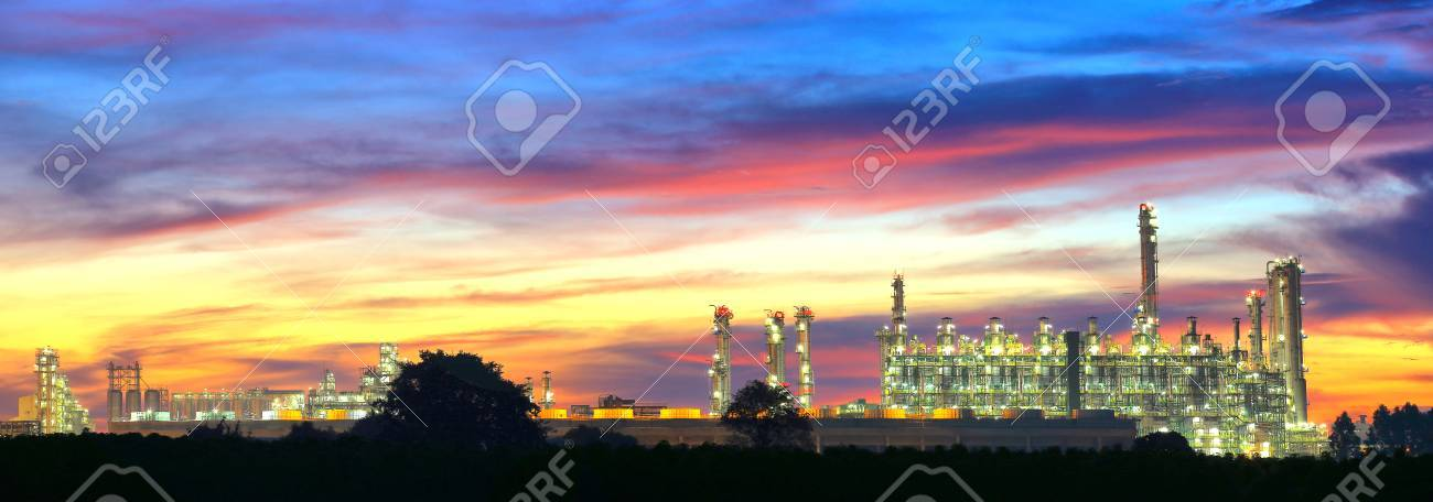 Landcsape of petrochemical oil refinery plant at night - 24179628