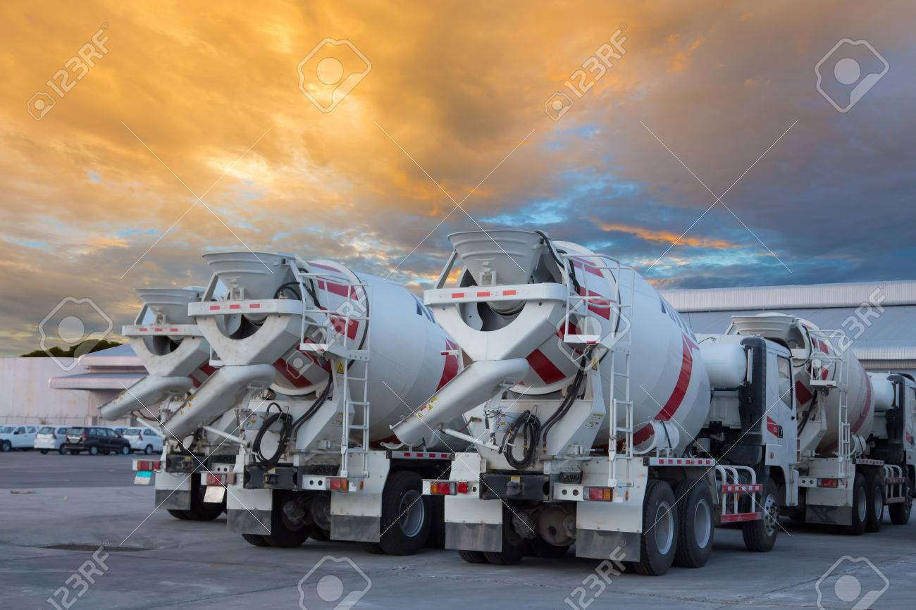 cement mixers car with beautiful sky - 32343122
