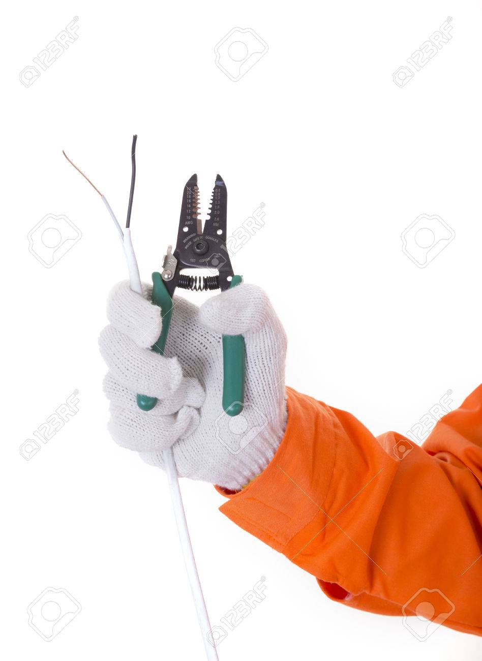 Man Hand Hold Cutter Ready To Cut Electrical Wire Or Cable. Isolated ...
