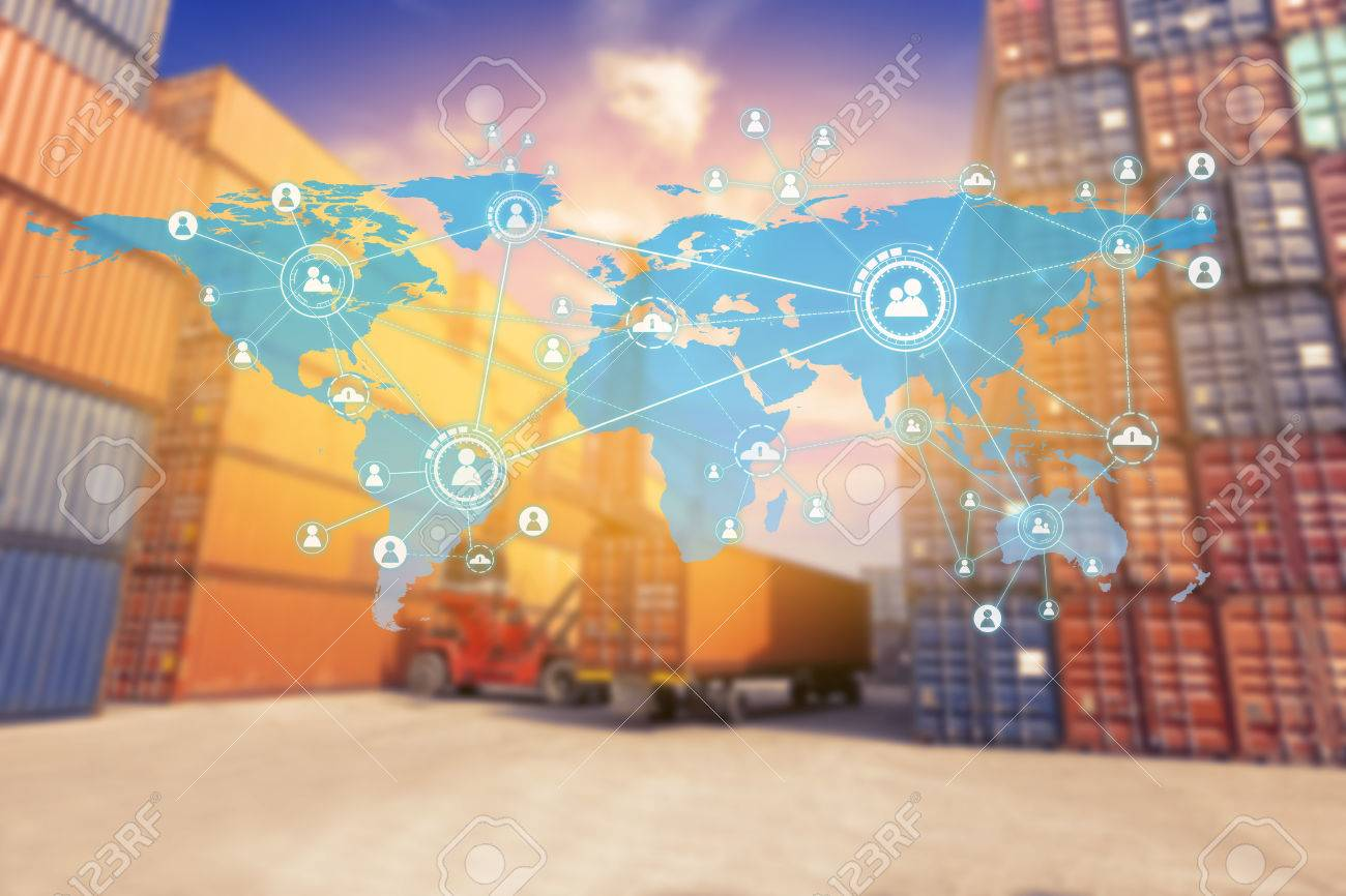 Social connection and networking Logistic Import Export background (Elements of this image furnished by NASA) - 84806198