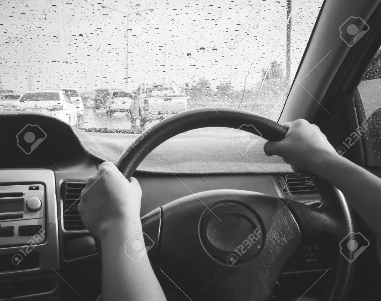 Drive In A Rainy Day Rain Drops On Windshield Car Take Photo Stock Photo Picture And Royalty Free Image Image 98436515