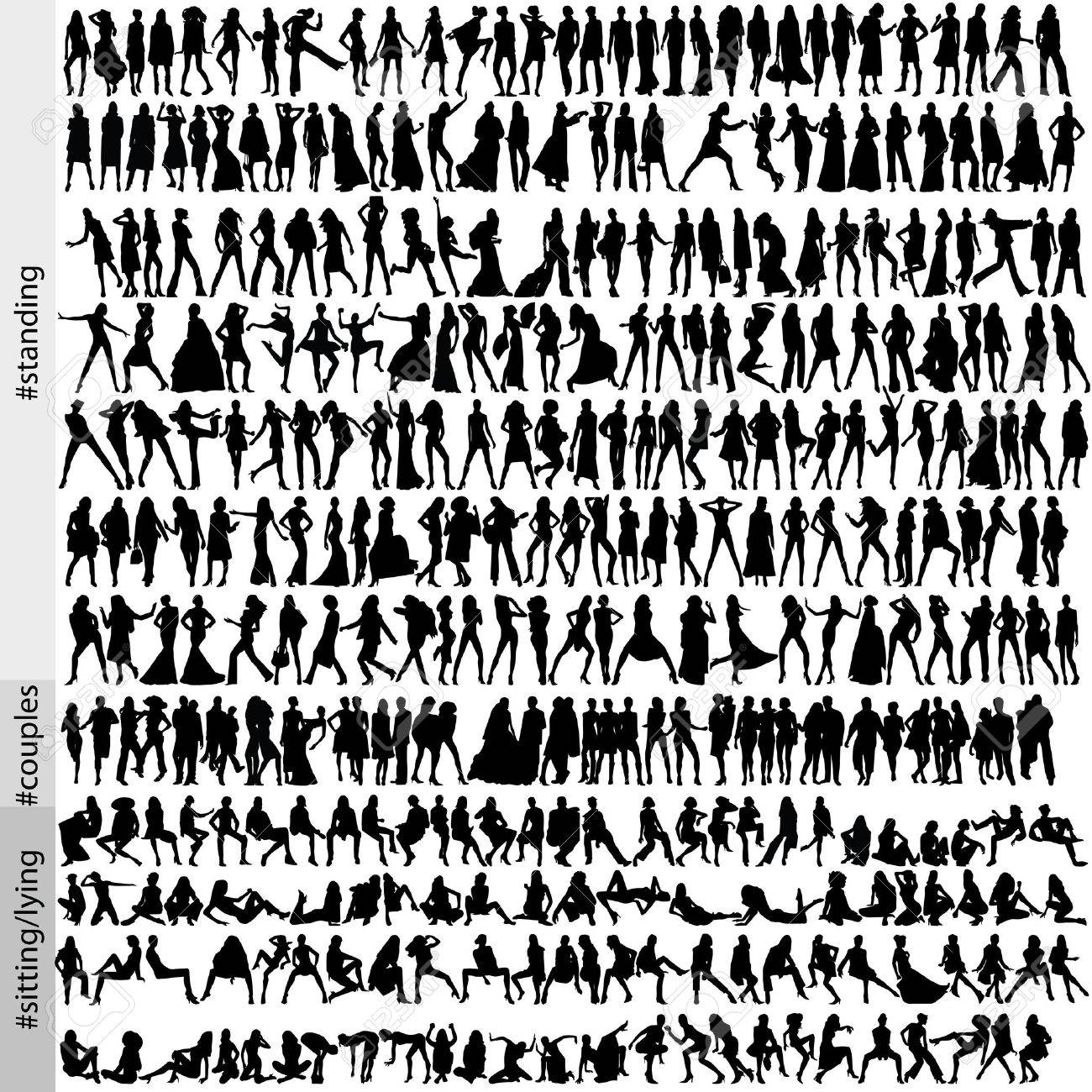 320 fashion silhouettes Stock Vector - 1703048