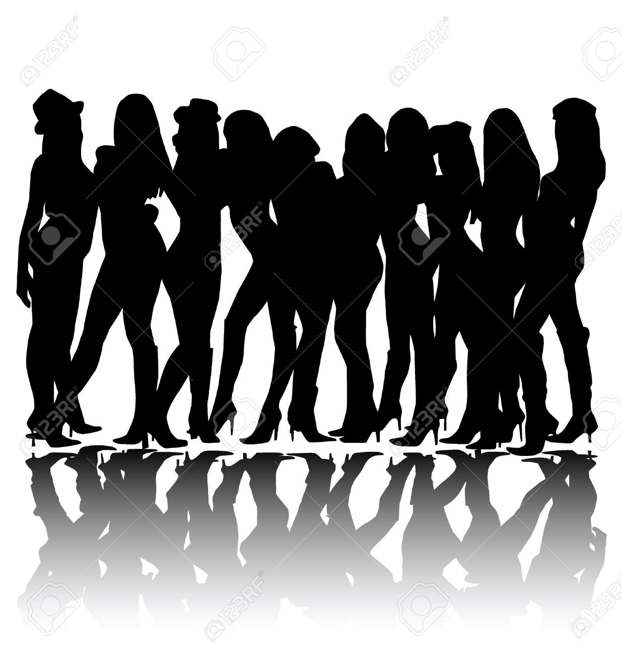 detailed woman group silhouette Stock Vector - 3225249