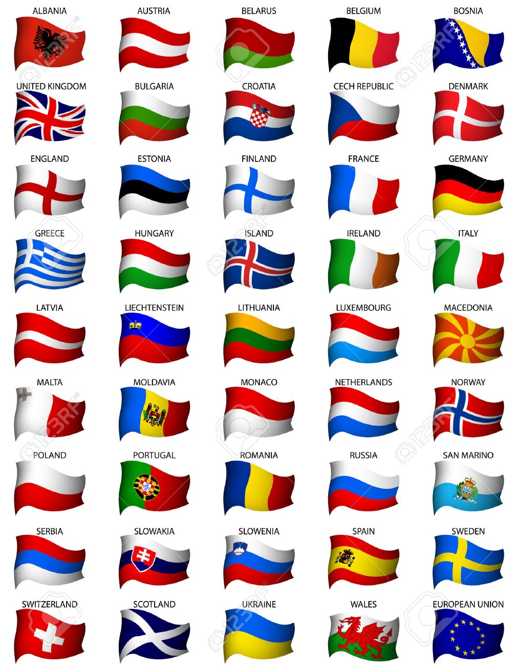 wavy european flags set Stock Vector - 6435208