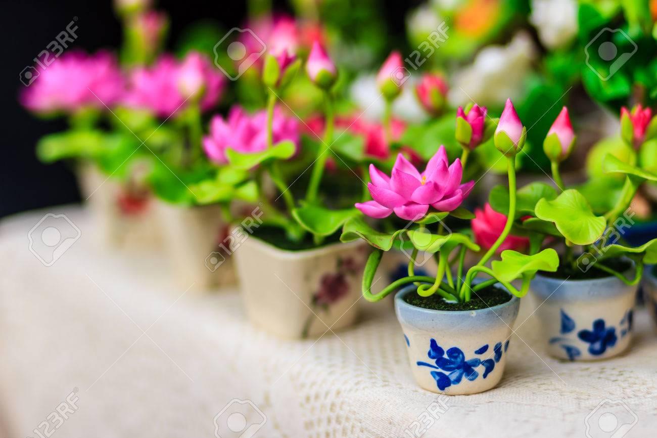 Cute artificial pink lotus flowers or water lily artificial stock cute artificial pink lotus flowers or water lily artificial lotus flower handmade clay lotus mightylinksfo