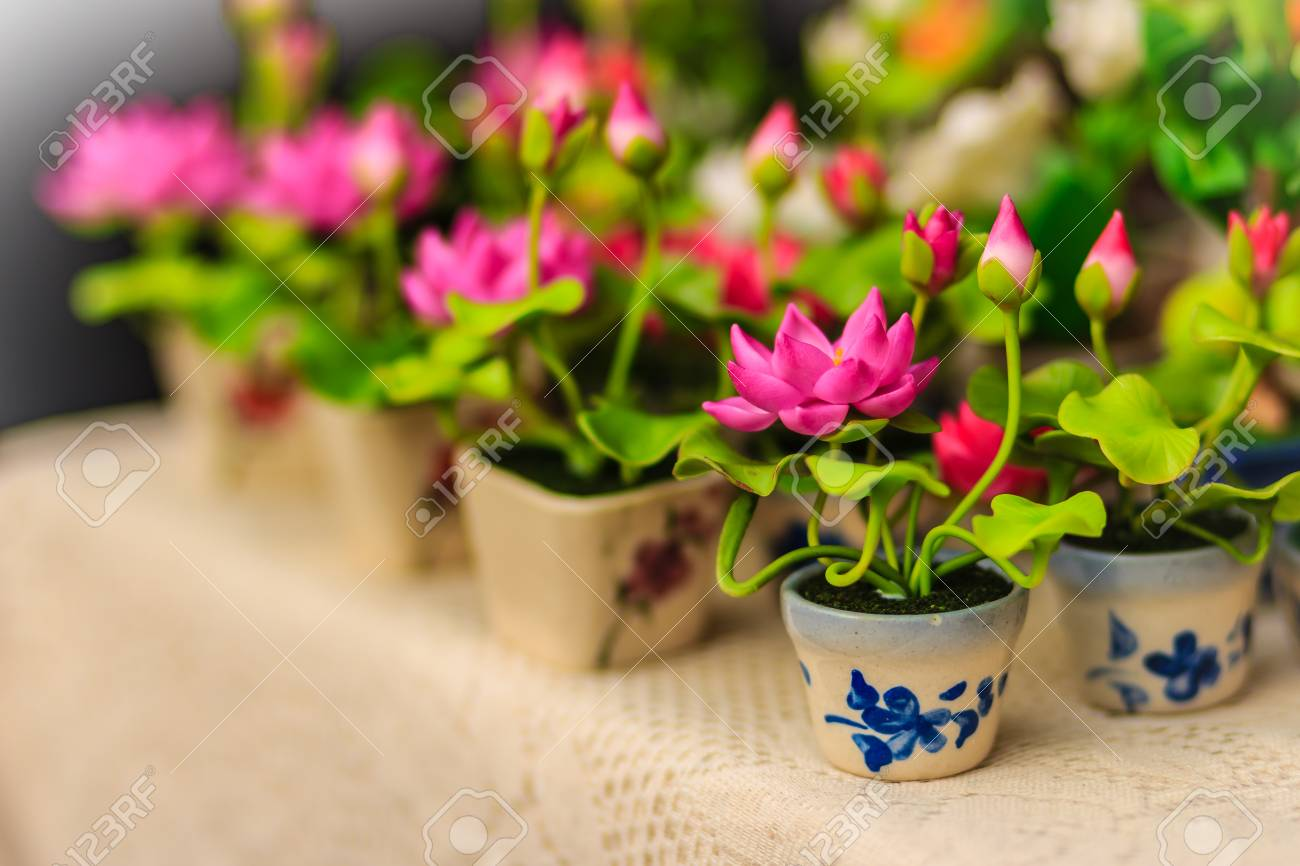 Cute Artificial Pink Lotus Flowers Or Water Lily Artificial Stock