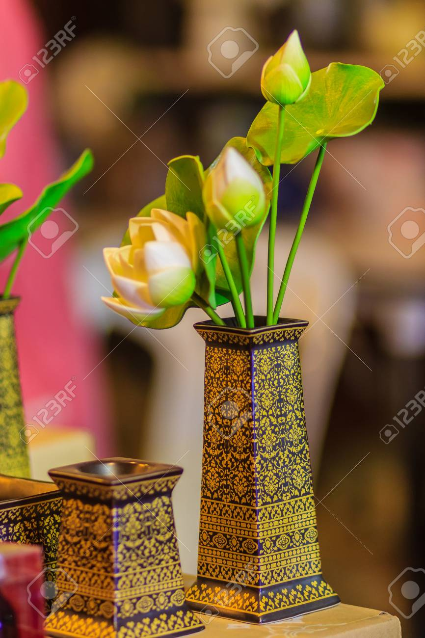 Cute Artificial White And Green Lotus Flowers Or Water Lily In The