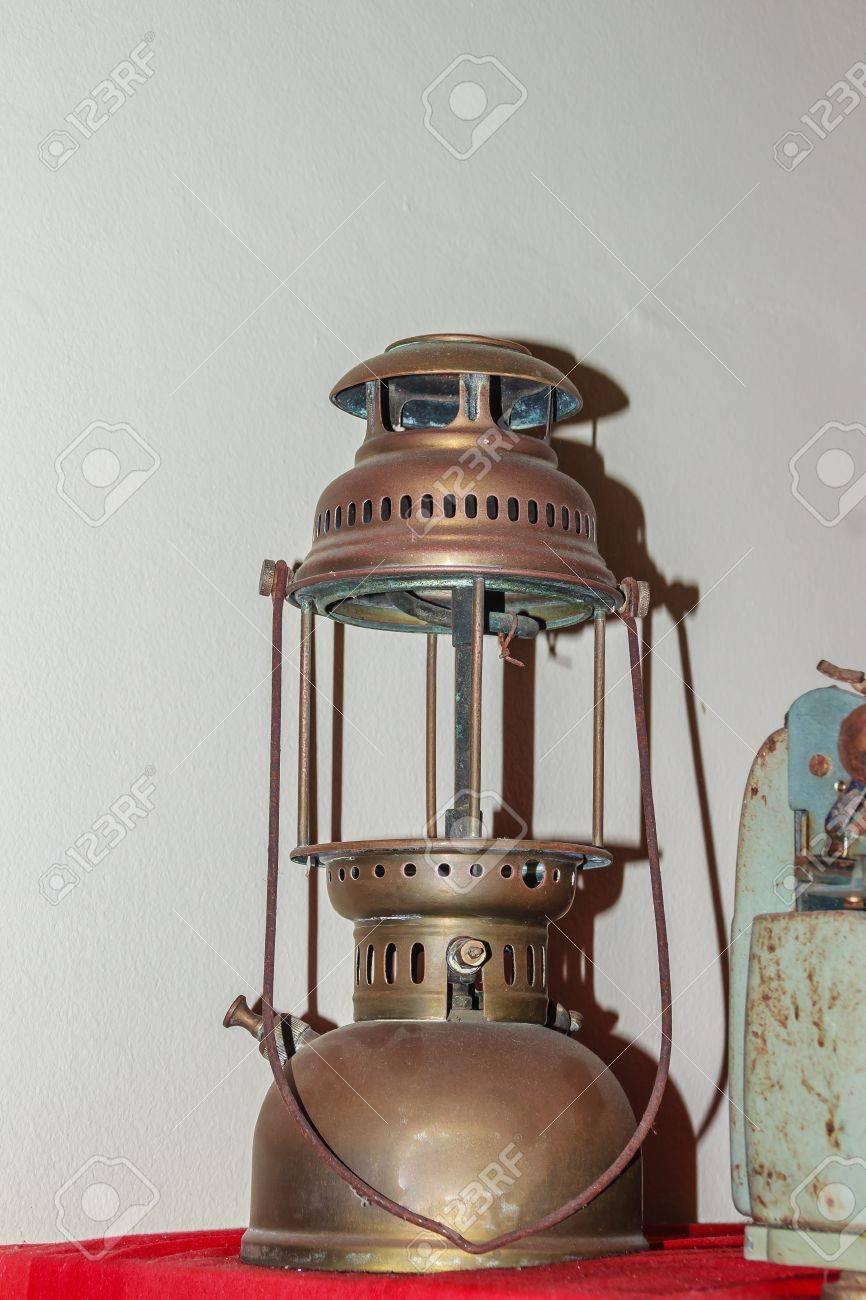 Antique Hurricane Lantern, Shot With Flash Light. Vintage Storm Lantern/  Old Hurricane Lantern
