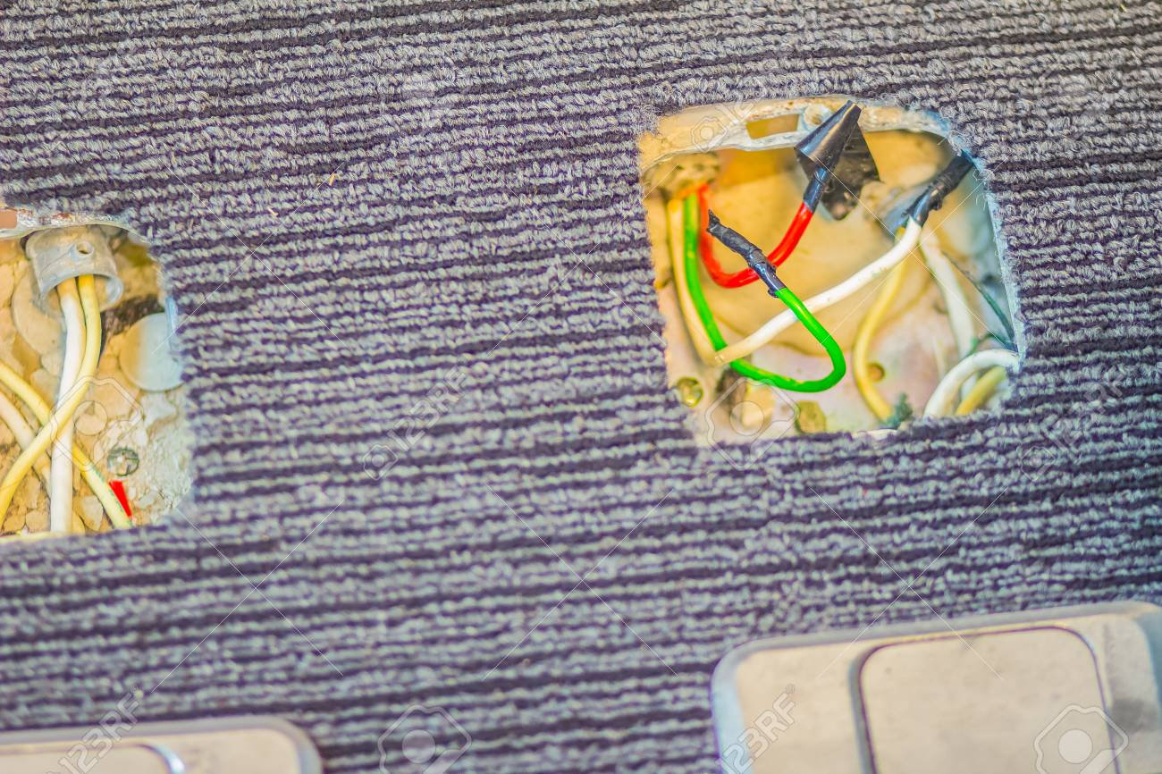 View Of Pop Up Floor Outlet Socket During Installation Opened How Fix Electrical Stock Photo For Repair System