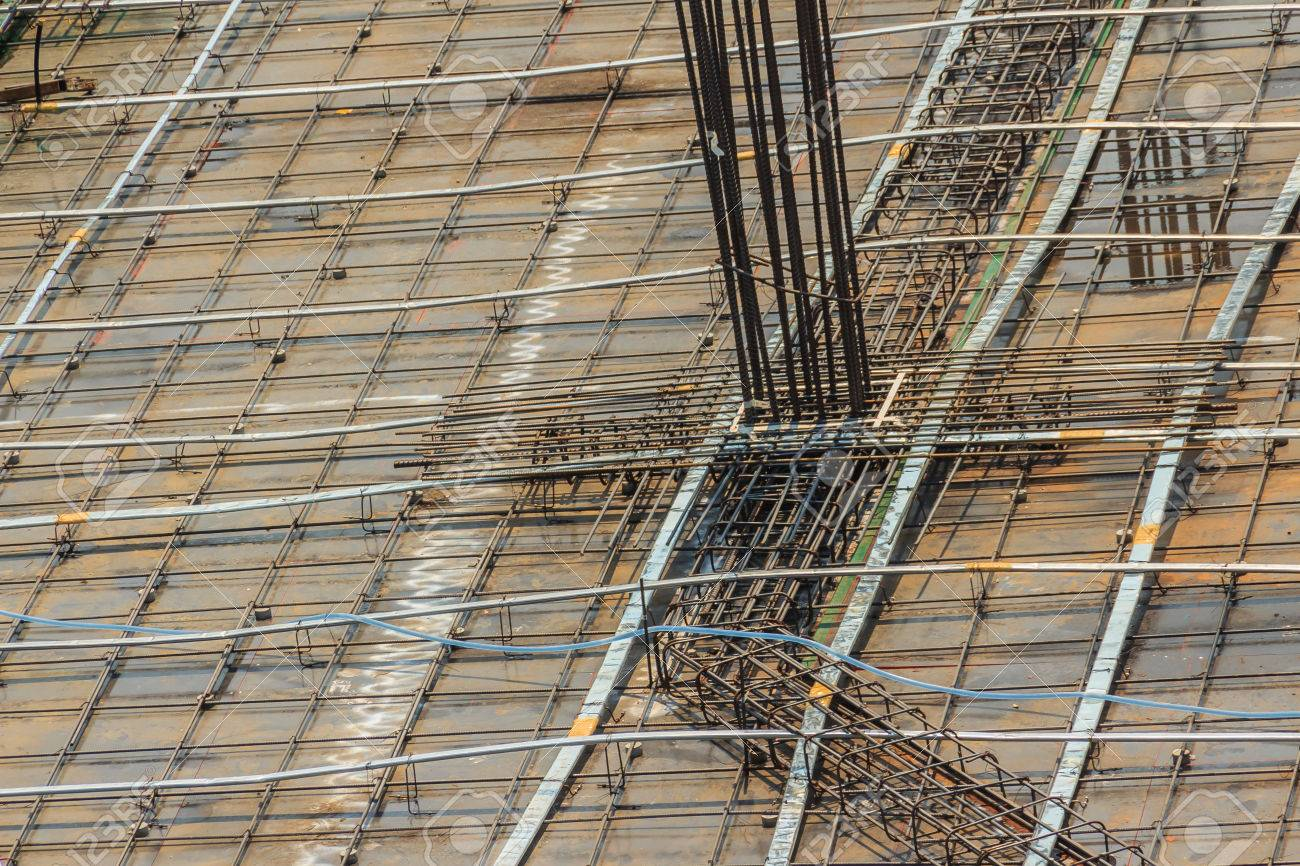 Cleaned floor slab reinforcement bar with post tension cable