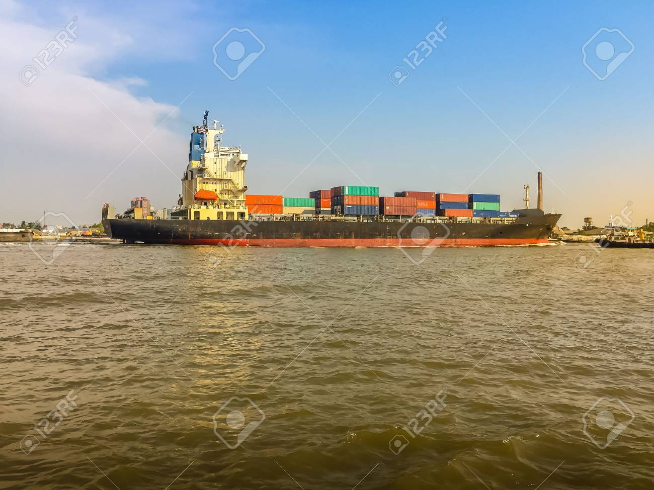 Massive container ship for import export and business logistic