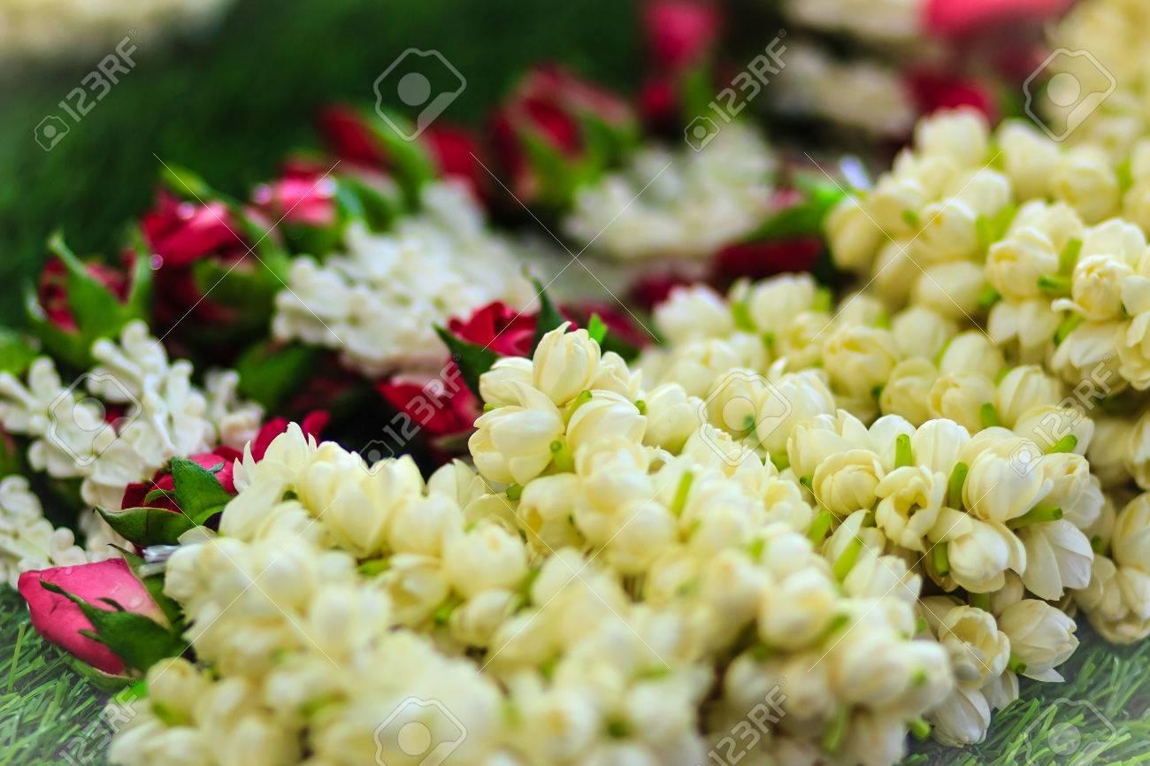 Beautiful garlands made of jasminesroses and crown flowers for beautiful garlands made of jasminesroses and crown flowers for sale at the flower market izmirmasajfo