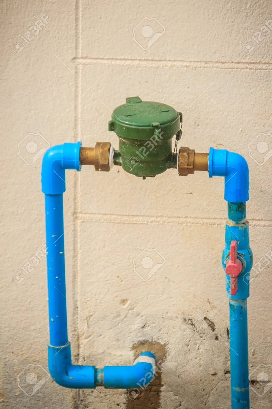 Vintage Water Meter Installed With Bronze Joint, PVC Elbow Connector ...
