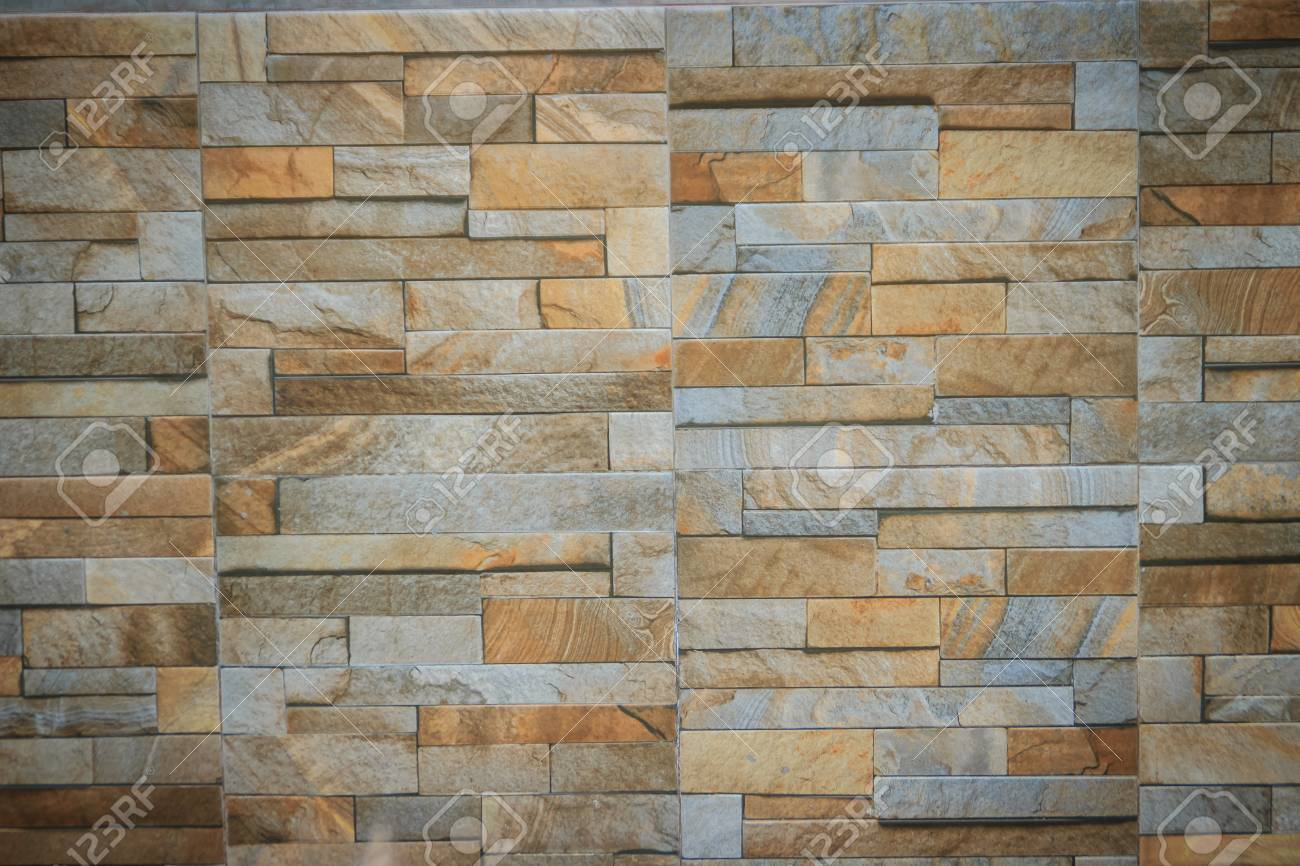 Wall Tiles Patterned Like Natural Split Stone Background Simulated