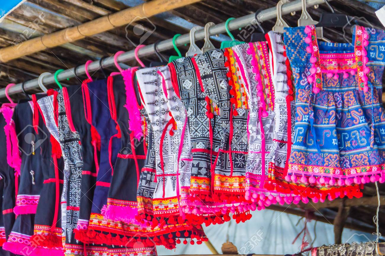 db76371bddb9 Beautiful traditional handmade clothes for sale to the tourist as the  souvenir at the local market