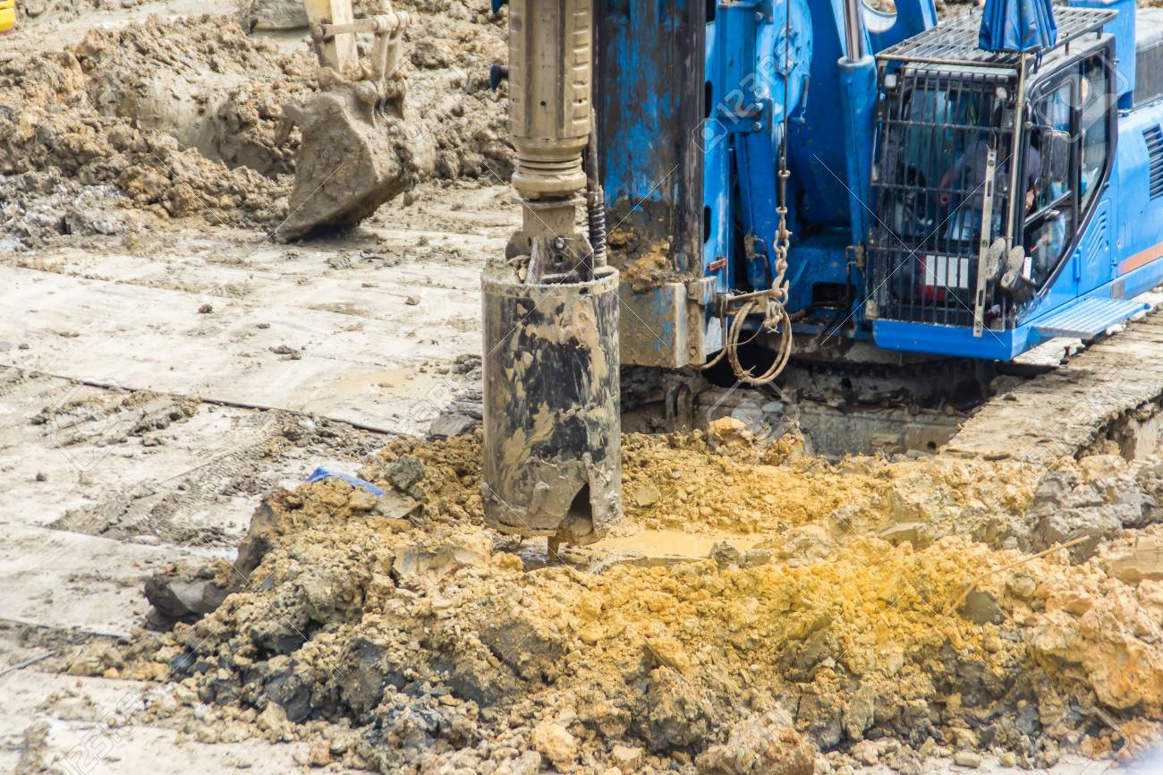 Hydraulic drilling machine is boring holes in the construction