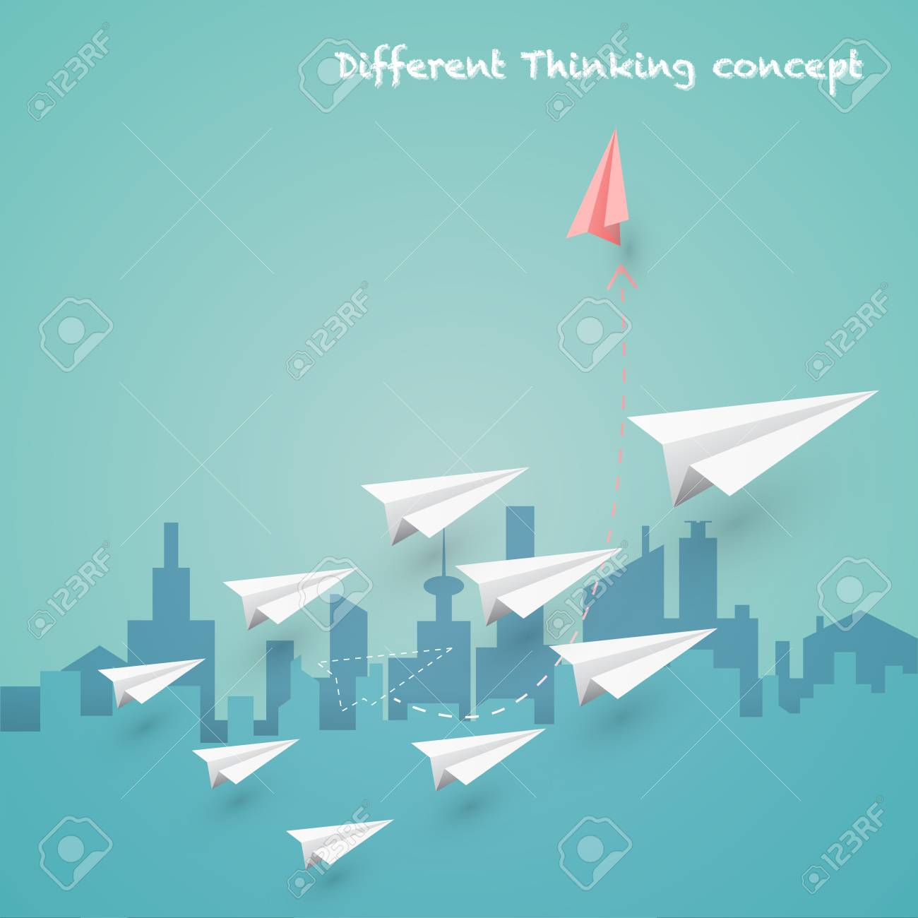 Difference thinking is make more experience and successful concept. Design with paper art plane and town background. - 96068007
