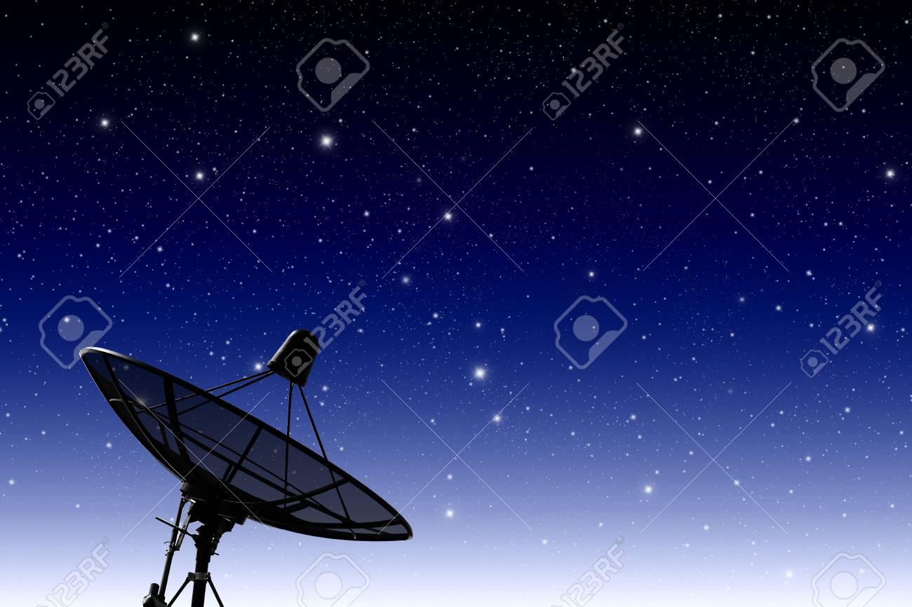 satellite disc against twilight sky Stock Photo - 10196750