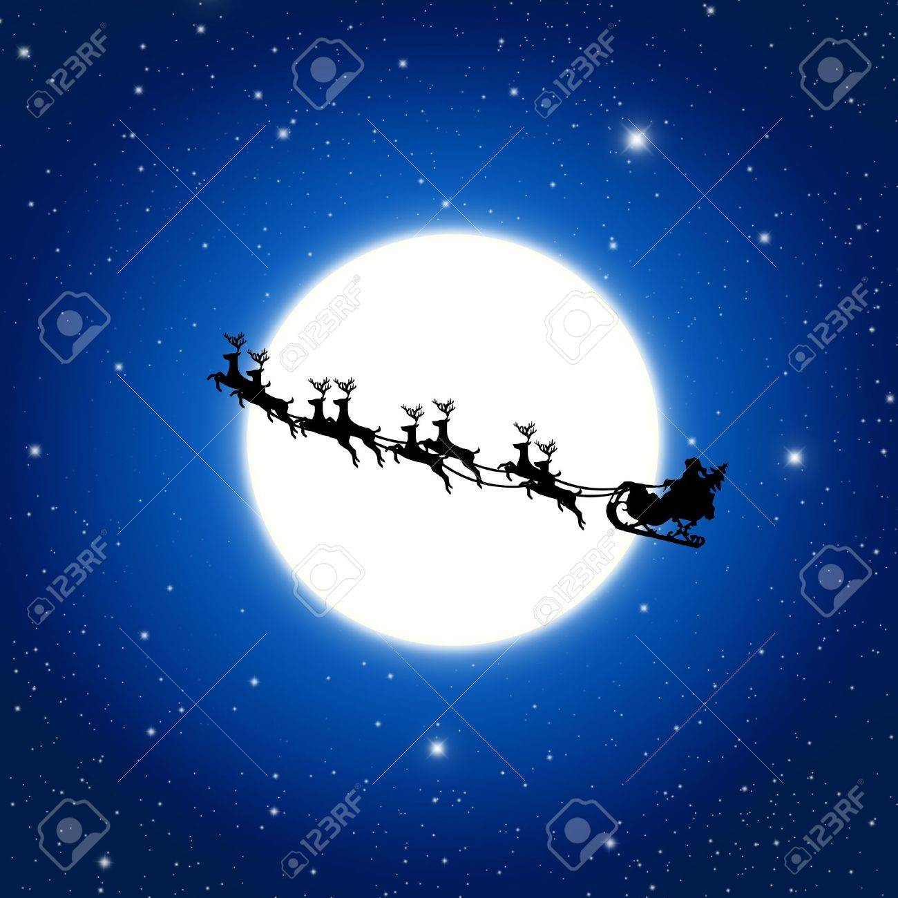 Santa Claus On Sledge With Deer And white Moon, Illustration Stock Illustration - 10196668