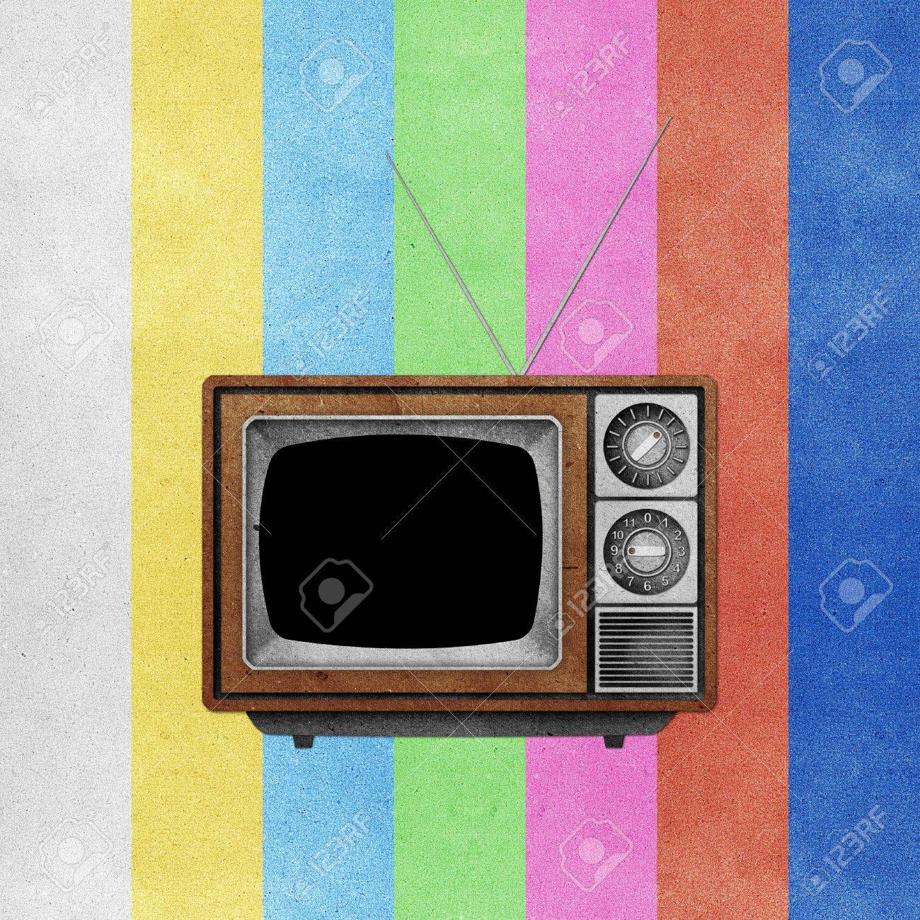 Television ( TV ) icon recycled paper stick on grunge retro screen color background Stock Photo - 10275384