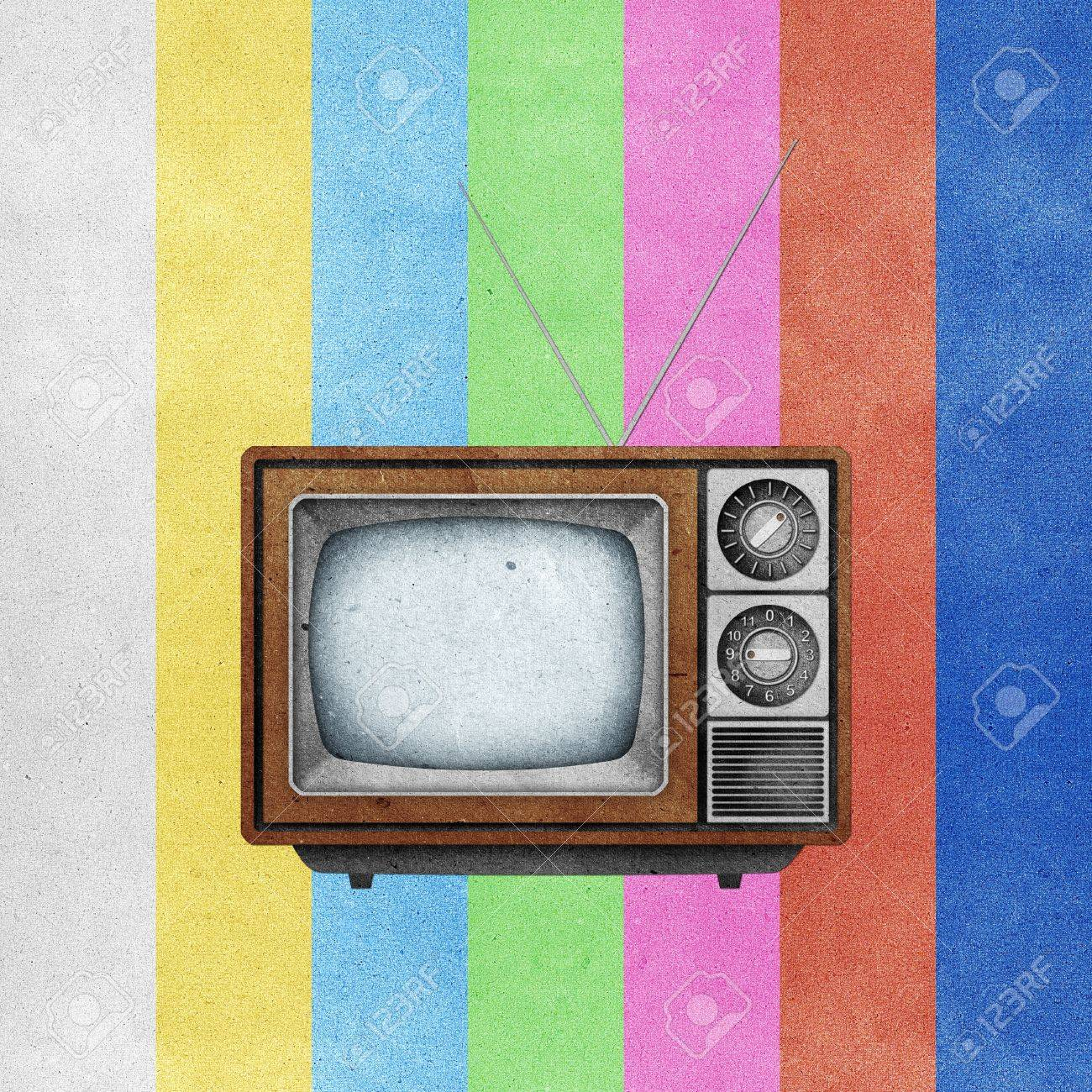 Television ( TV ) icon recycled paper stick on grunge retro screen color background Stock Photo - 10275399