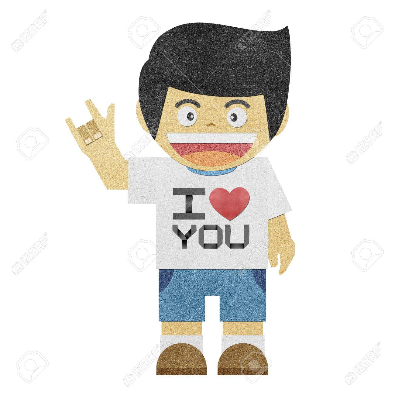 Isolate paper boy with i love you alphabet recycled paper craft isolate paper boy with i love you alphabet recycled paper craft stock photo 12061629 jeuxipadfo Images