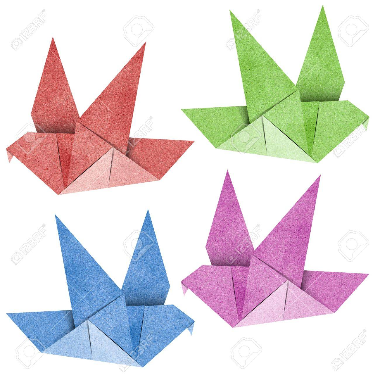 Origami Bird made from Recycle Paper Stock Photo - 14247686