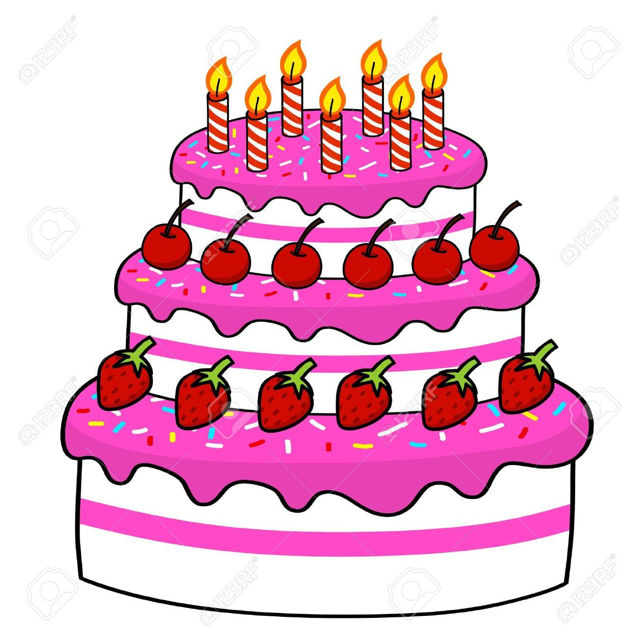 Cartoon Cake Hand Drawing Vector Royalty Free Cliparts Vectors