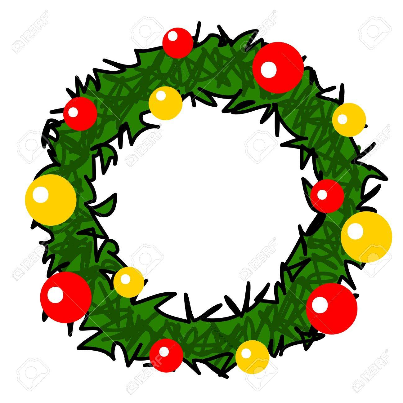 Christmas Wreath Cartoon Royalty Free Cliparts Vectors And Stock