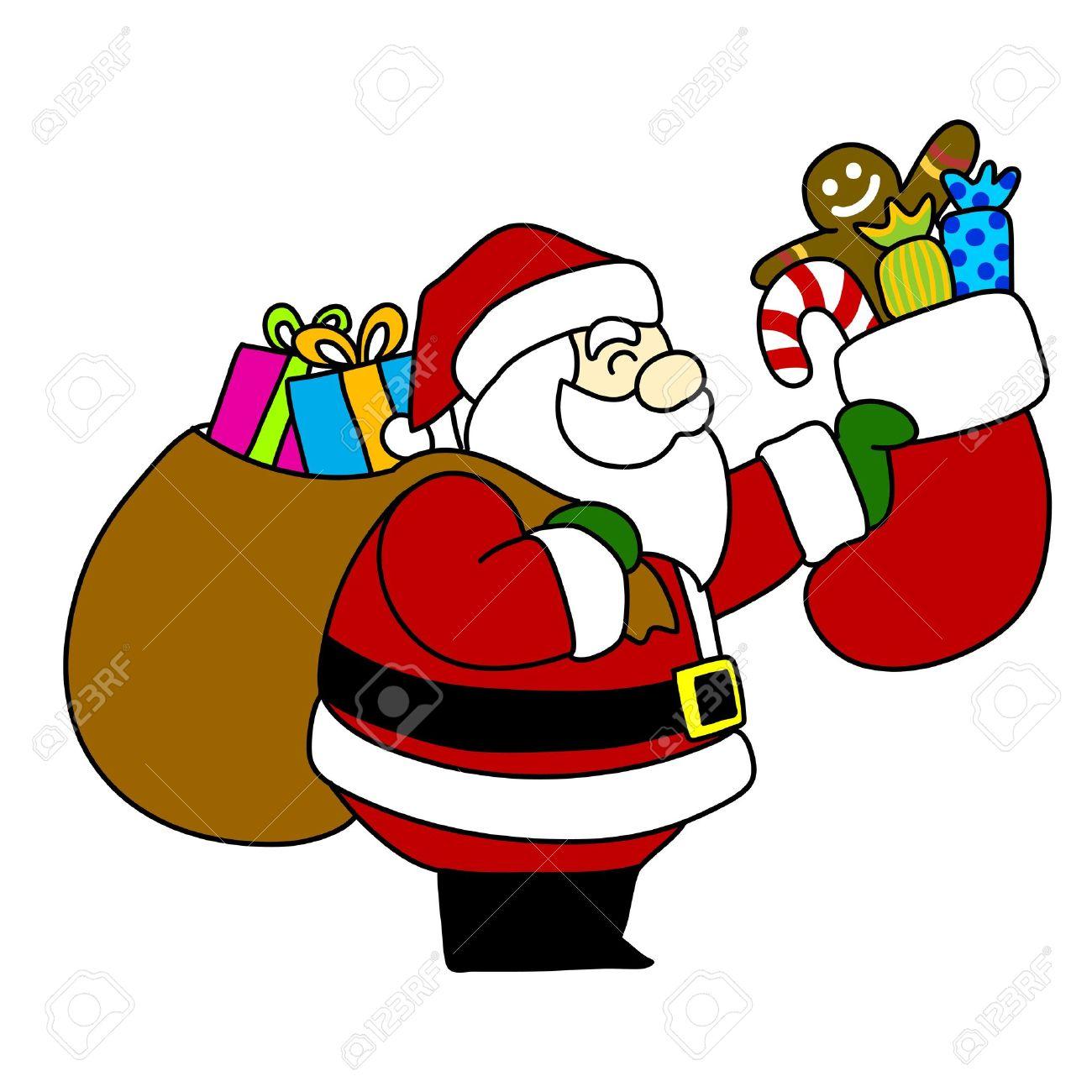 cartoon santa claus hand writing, royalty free cliparts, vectors