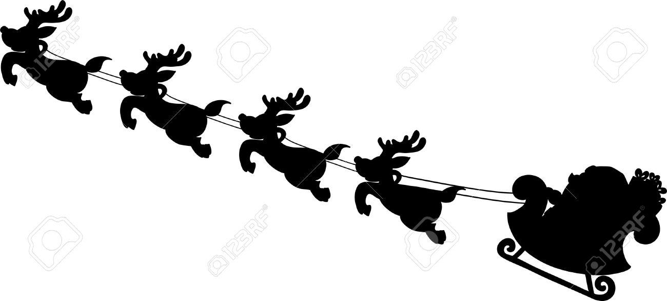 Santa's Sleigh Silhouettes Hand Writing Cartoon. Royalty Free ...