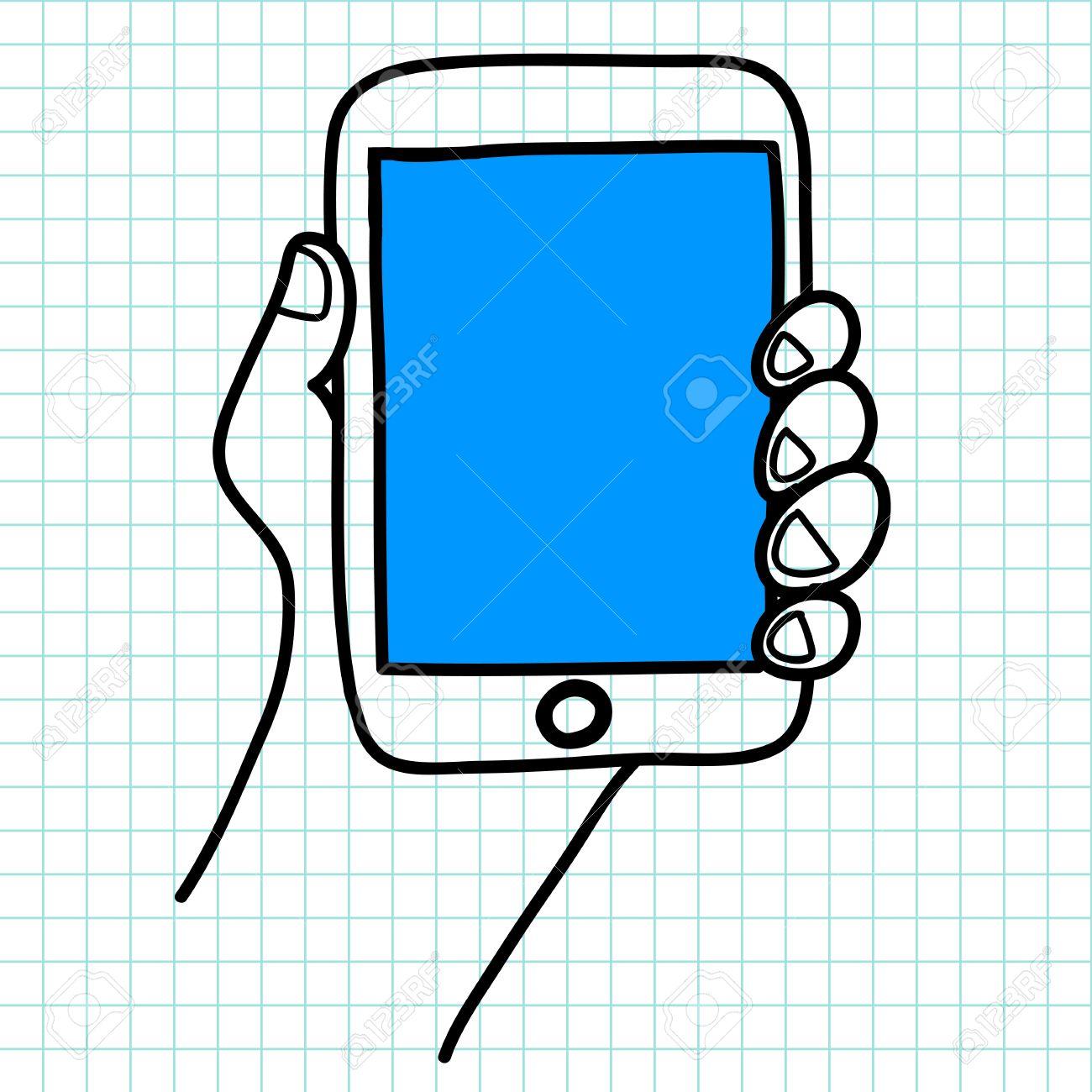 Hand holding a tablet cartoon Stock Vector - 15970845
