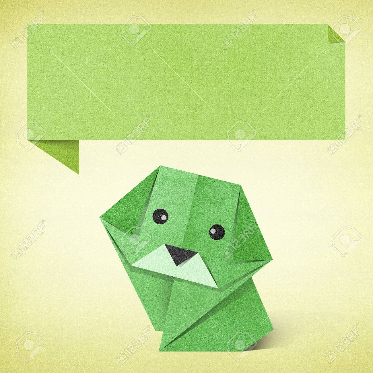 Origami Dog Recycled Paper Background Stock Photo Picture And