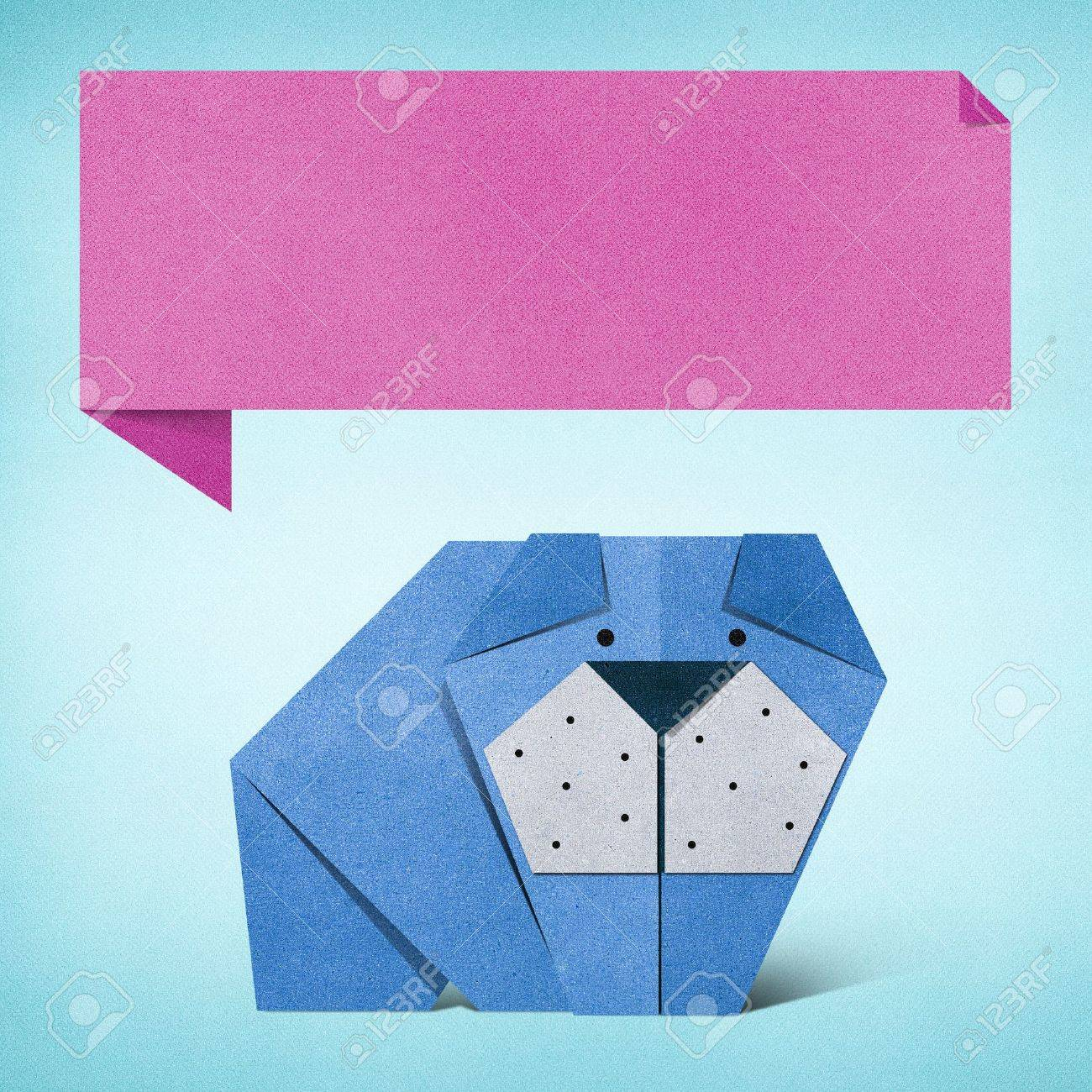 Origami dog recycled paper background - 17018313