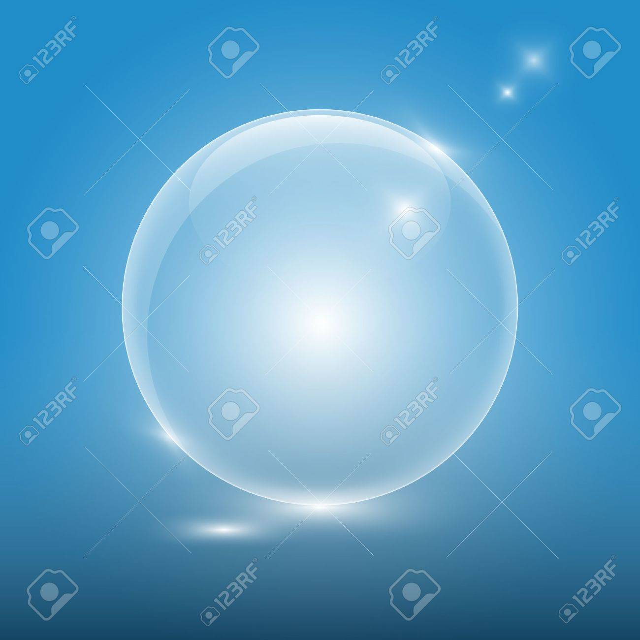 Transparent glass ball on blue background Stock Vector - 17421601