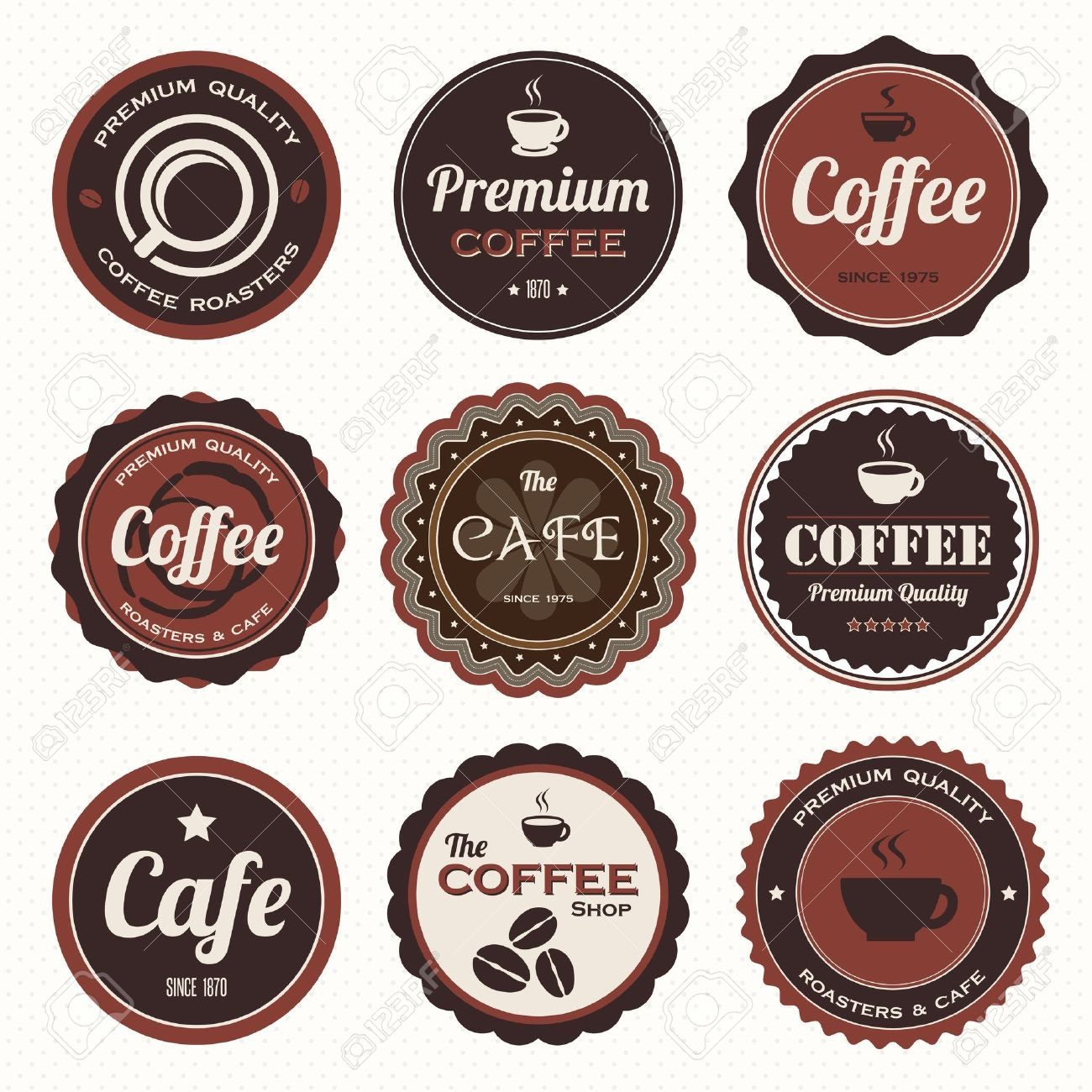 Set of vintage coffee badges and labels. Stock Vector - 19080302